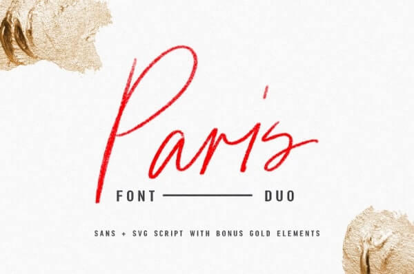 text reads paris font duo in red against white background