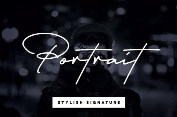 text reads portrait stylier signature against a black and grey background