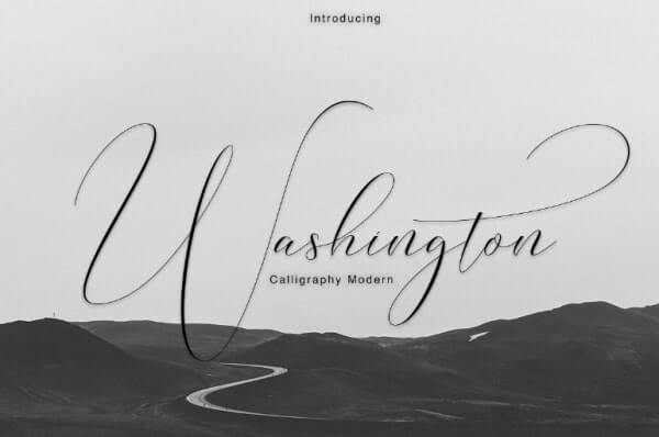 text reads washington callligraphy font on grey and black background