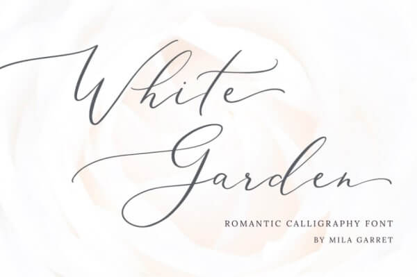 text reads white garden beautiful hand written font on white background
