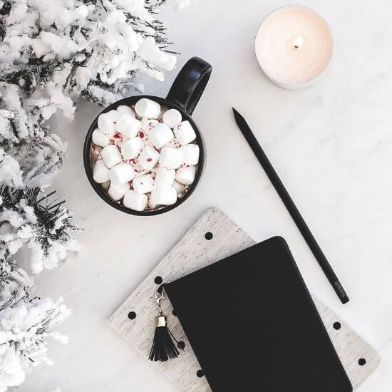 christmas blog post ideas - pen, cocoa, and wallet