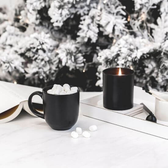 christmas blog post ideas - cocoa, candle, and a book