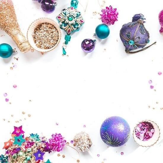 top down photo of christmas home decor and ornaments