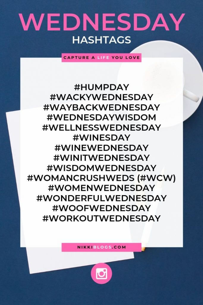 text reads wednesday hashtags followed by 15 popular choices