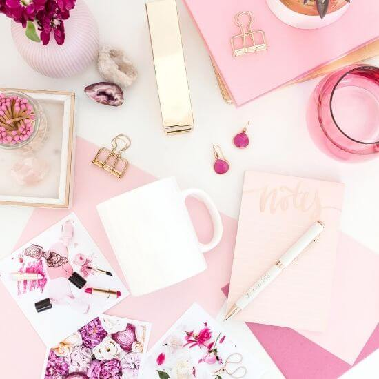 valentine's day blog ideas - top down of pink and white stationary