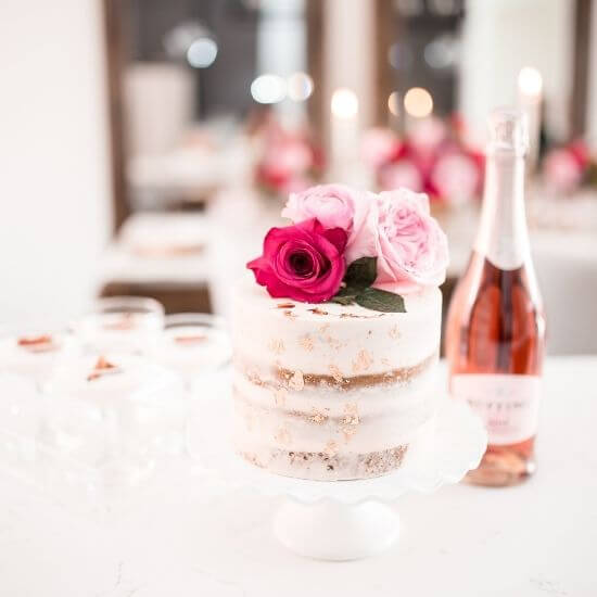 valentine's day blog post ideas - romantic cake and champagne