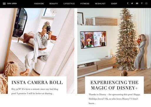 screenshot of cara loren lifestyle blog home page