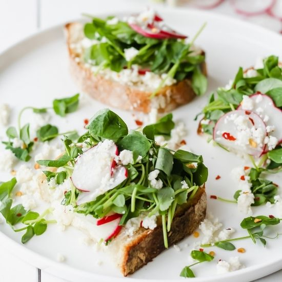 goat cheese and radish open faced sandwiches - order takeout - self care ideas