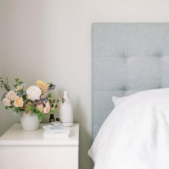 beautiful serene bedroom - self care ideas for parents - reading