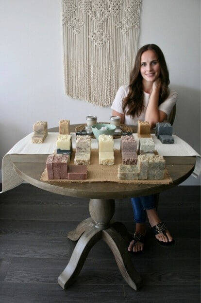 paulina of nature derived organics with her natural soap collection