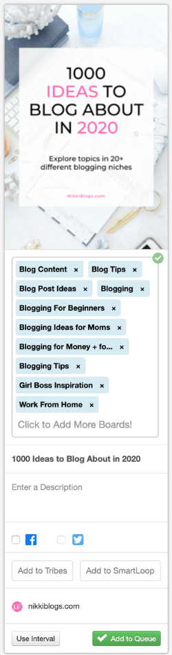 screenshot of taiwind pinterest scheduler board lists selection showing 10 new boards to schedule to
