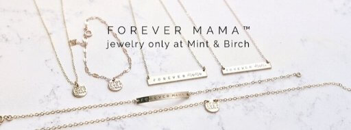 flat lay of mint and birch forever mama jewelry line