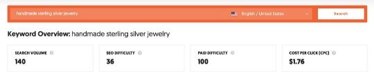 screenshot of search for handmade sterling silver jewelry on ubersuggest