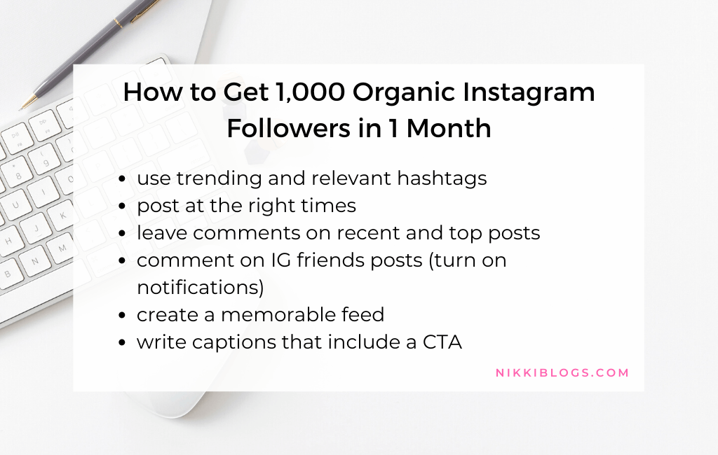 text reads how to get 1000 organic instagram followers in 1 month