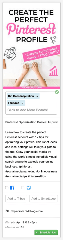 screenshot of pinterest pin to schedule shown in tailwind app