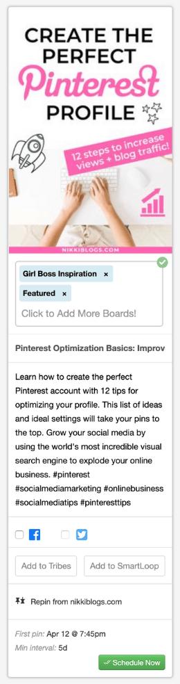 screenshot of pinterest pin to schedule shown in tailwind app