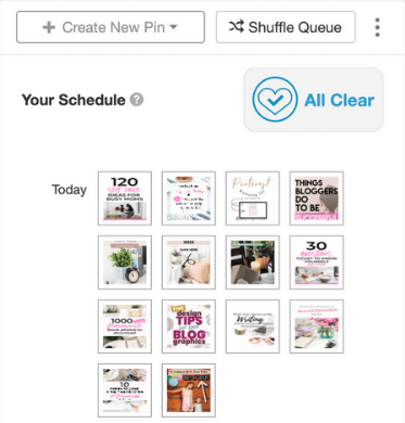 screenshot of tailwind pinterest planner your schedule menu