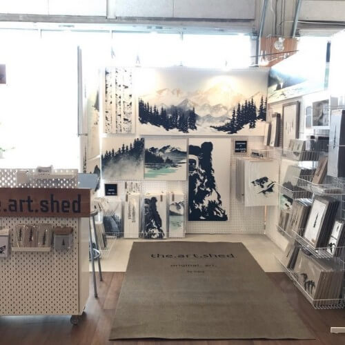 popup display of original artwork by the art shed