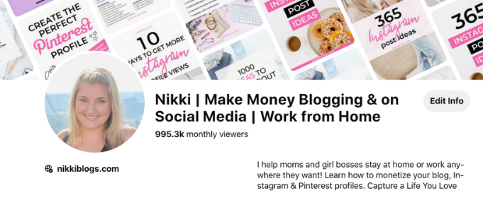 screenshot of nikki blogs pinterest profile with 995.3k monthly viewers