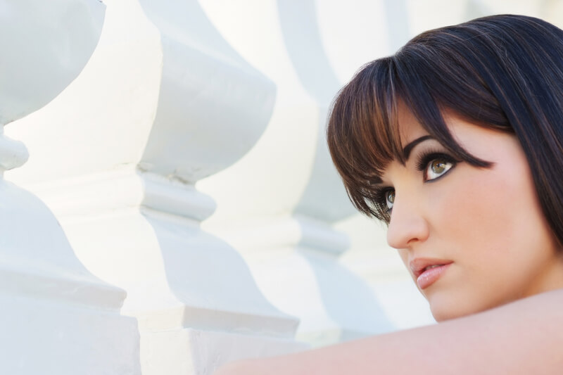 photo of nikki slivarich with dark hair as part of a makeup collaboration photo shoot