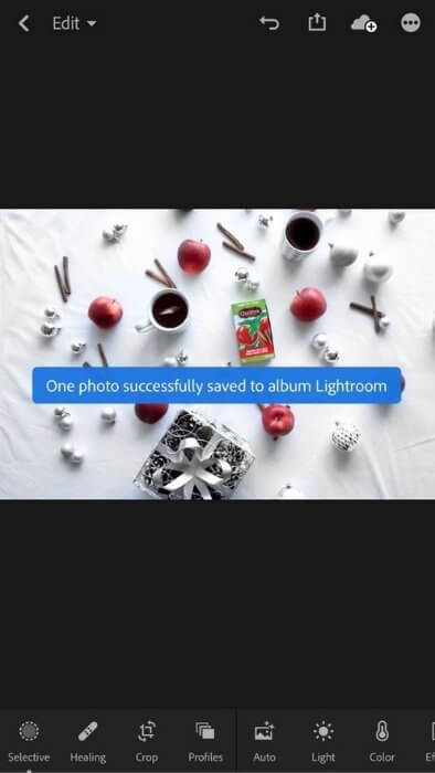 flat lay photography equipment - lightroom mobile photo editing - screenshot of lightroom editing screen
