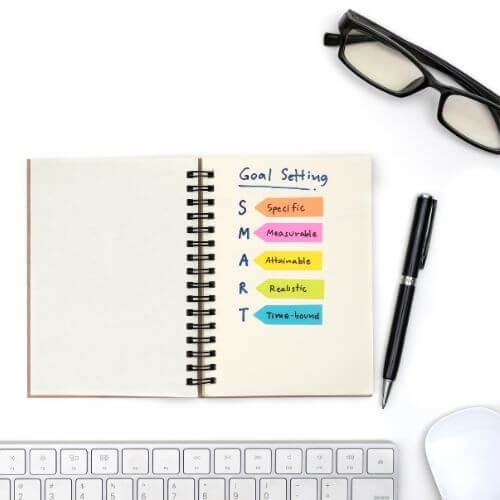 how to stay focused - top down of a notebook with goal setting guidelines in it, pen, glasses, and computer accessories