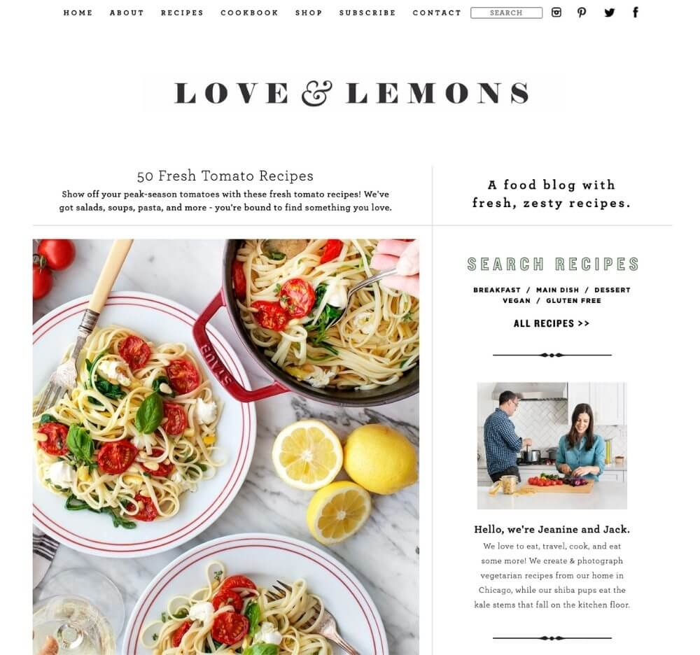screenshot of love and lemons blog name ideas example