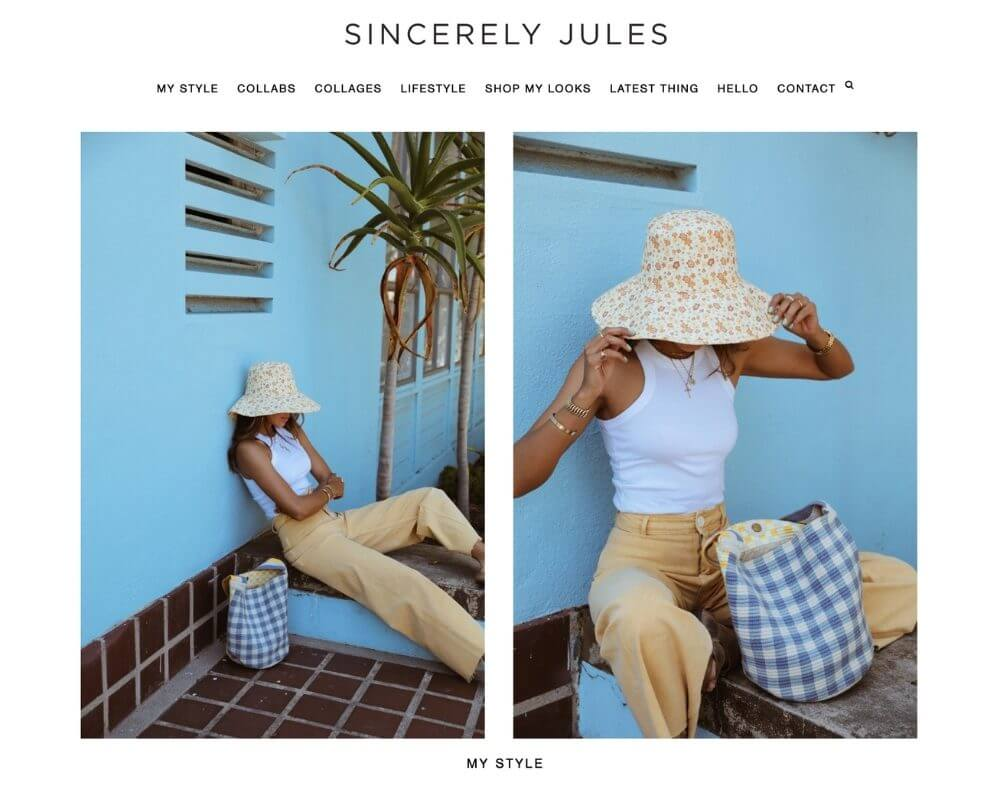 screenshot of sincerely jules blog name ideas example