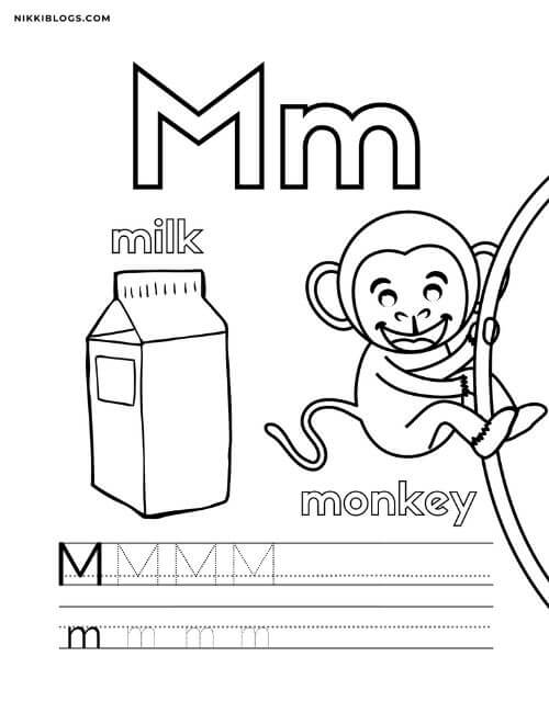alphabet coloring pages for toddlers featuring the letter m, a monkey, and milk