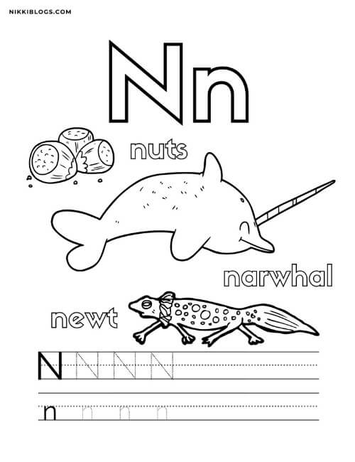 alphabet coloring pages for toddlers featuring the letter n, nuts, a narwhal, and a newt