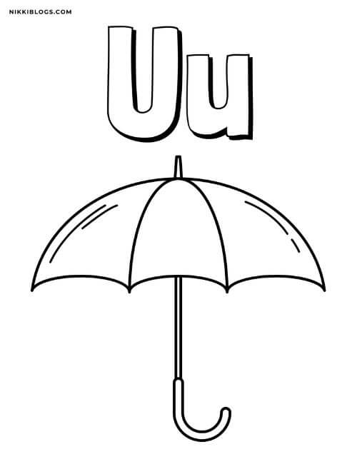 alphabet coloring pages for toddlers featuring the letter u and an umbrella