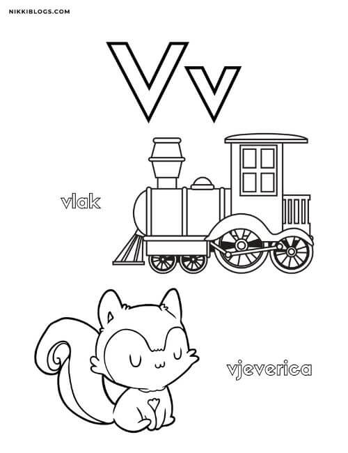 hrvatska abeceda bojanka coloring pages for toddlers for letter v