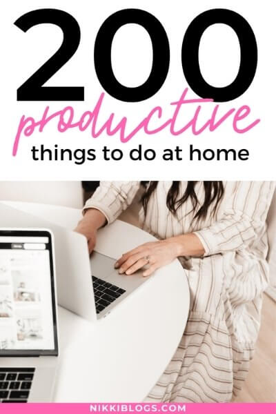 text reads 200 productive things to do at home