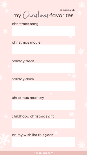 christmas favorites instagram template rose gold