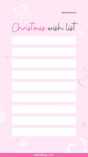 christmas wish list template pink