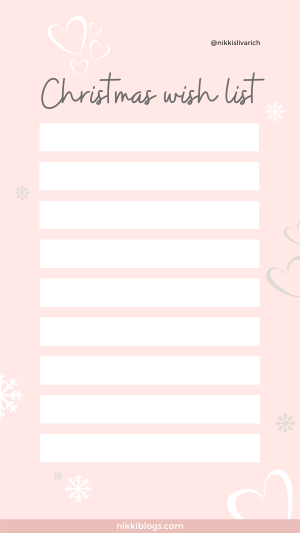 christmas wish list template rose gold