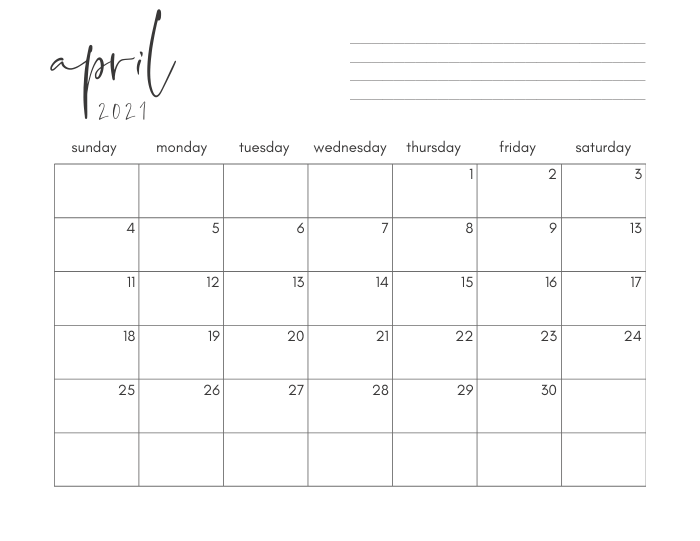 april 2021 printable monthly calendar