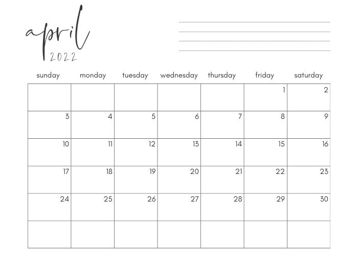 april 2022 printable monthly calendar