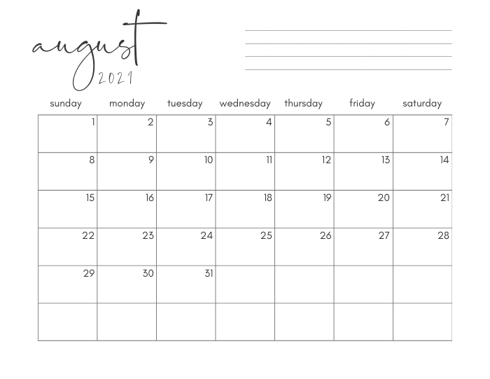 august 2021 printable monthly calendar