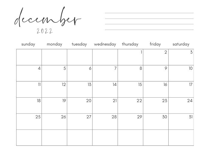 december 2022 printable monthly calendar