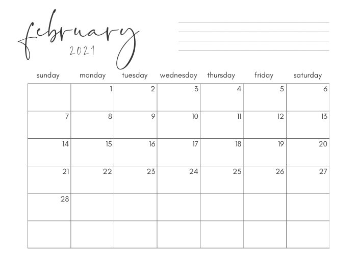 february 2021 printable monthly calendar