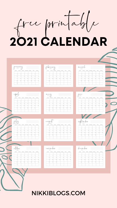 free printable calendar - 2021 monthly pages