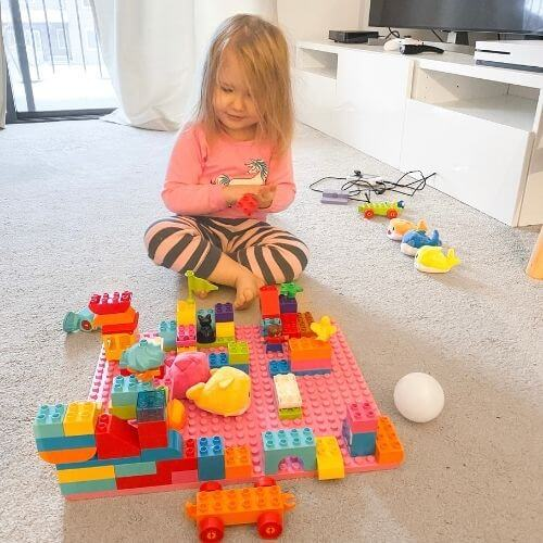indoor activities for toddlers - lego duplo independent play