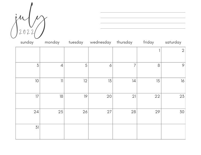 july 2022 printable monthly calendar