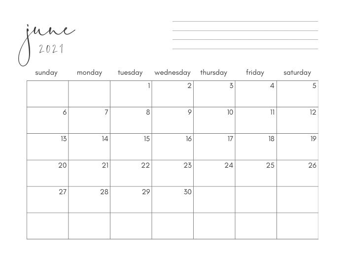 june 2021 printable monthly calendar
