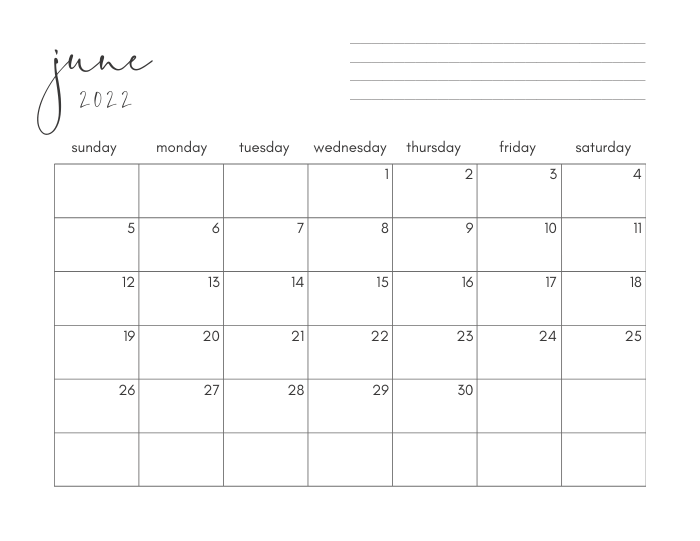 june 2022 printable monthly calendar