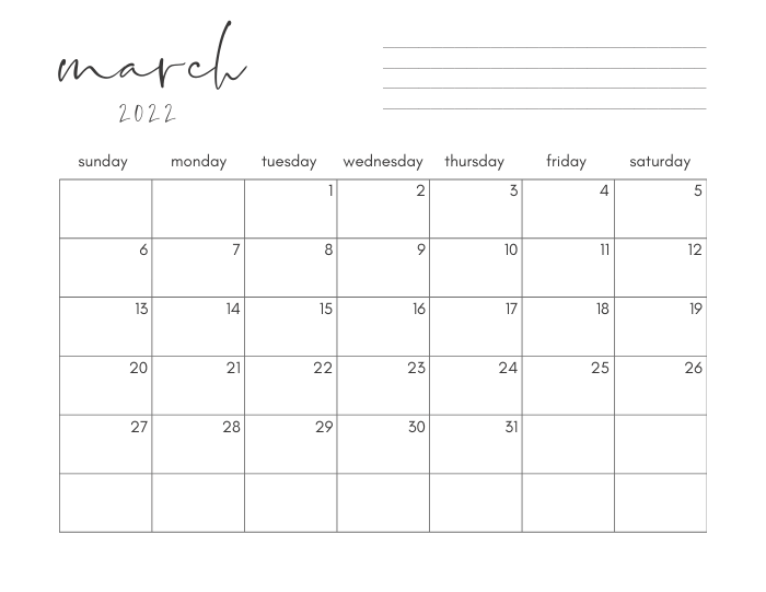 march 2022 printable monthly calendar