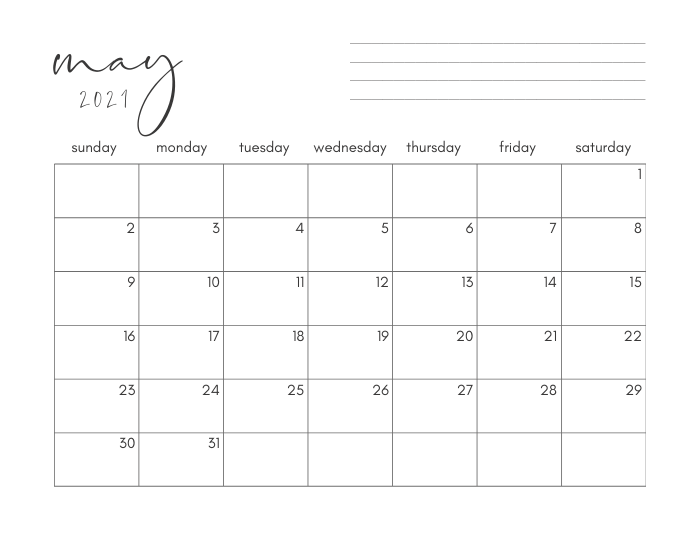 may 2021 printable monthly calendar