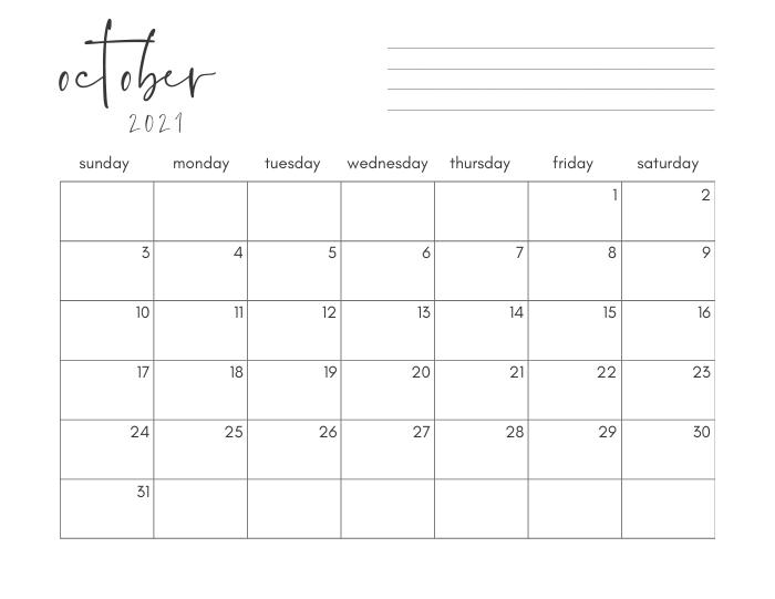 october 2021 printable monthly calendar
