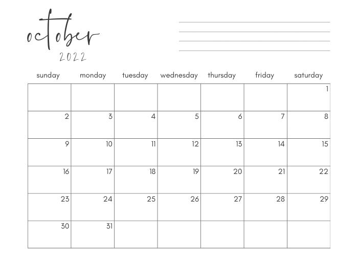 october 2022 printable monthly calendar